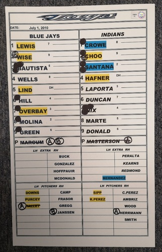 Photo of Authenticated Game Used Lineup Card - July 1, 2010 at CLE: Canada Day 2010. Justin Masterson Wins with 1 ER over 8.1 IP