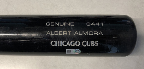 Photo of Albert Almora Game-Used Cracked Bat -- Clay Holmes to Albert Almora, Line Out, Top 6 -- Cubs at Pirates -- 7/4/19