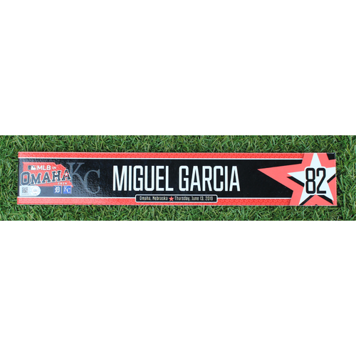 Photo of Team-Issued Locker Nameplate: MLB in Omaha - Miguel Garcia (6/21/19 - DET @ KC)