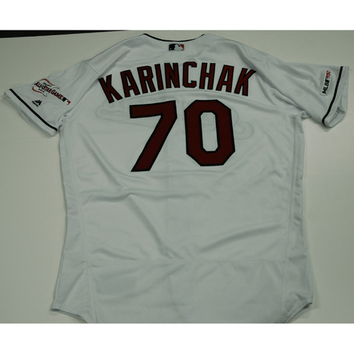 Photo of James Karinchak 2019 Team Issued Home White Jersey