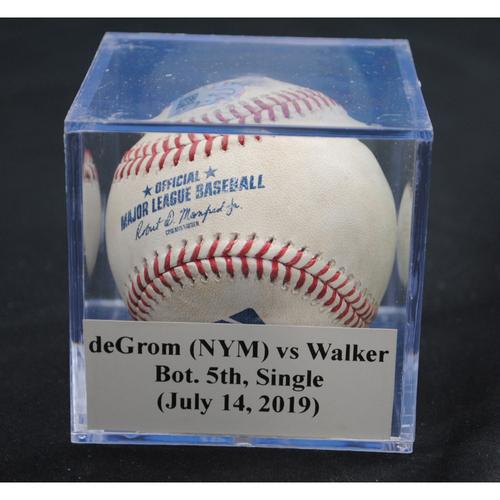 Photo of Game-Used Baseball: Jacob deGrom (NYM) vs Neil Walker, Bot. 5th, Single (July 14, 2019)