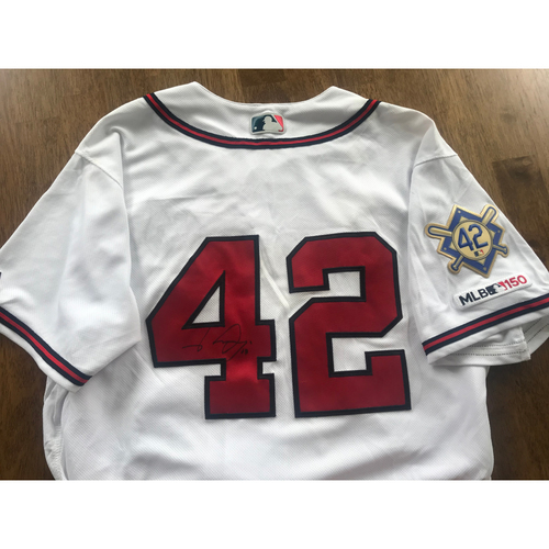 "Photo of Johan Camargo Jackie Robinson Day ""42"" Game Used and Autographed Jersey"