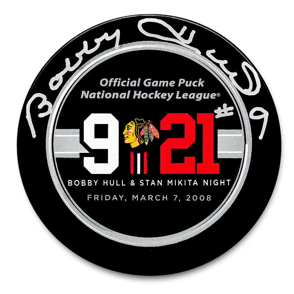 Bobby Hull Chicago Blackhawks Retirement Night Autographed Official Game Puck