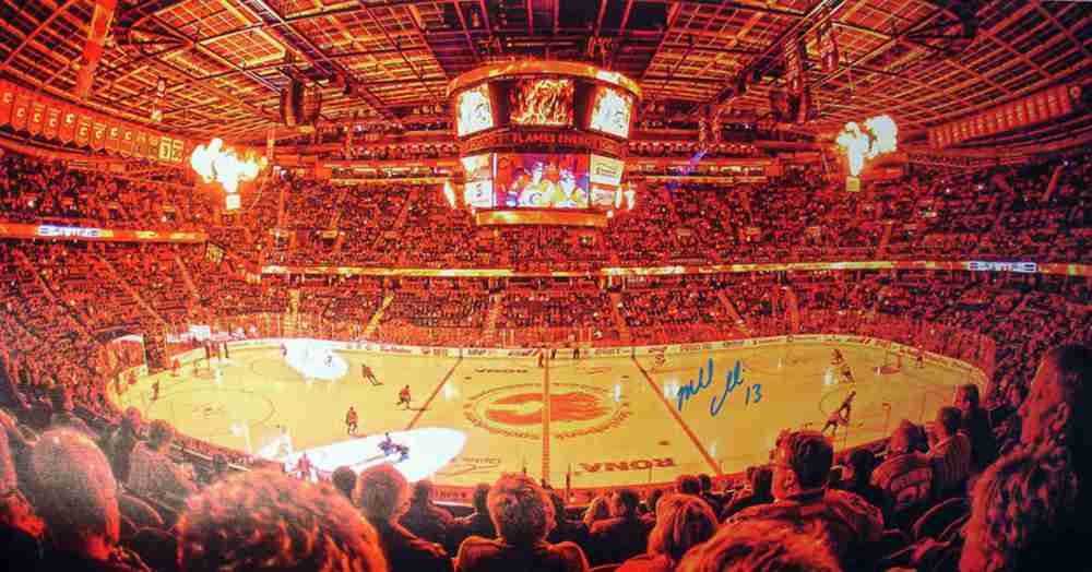 Cammalleri,M Signed 14x28 Canvas Flames Saddledome Interior