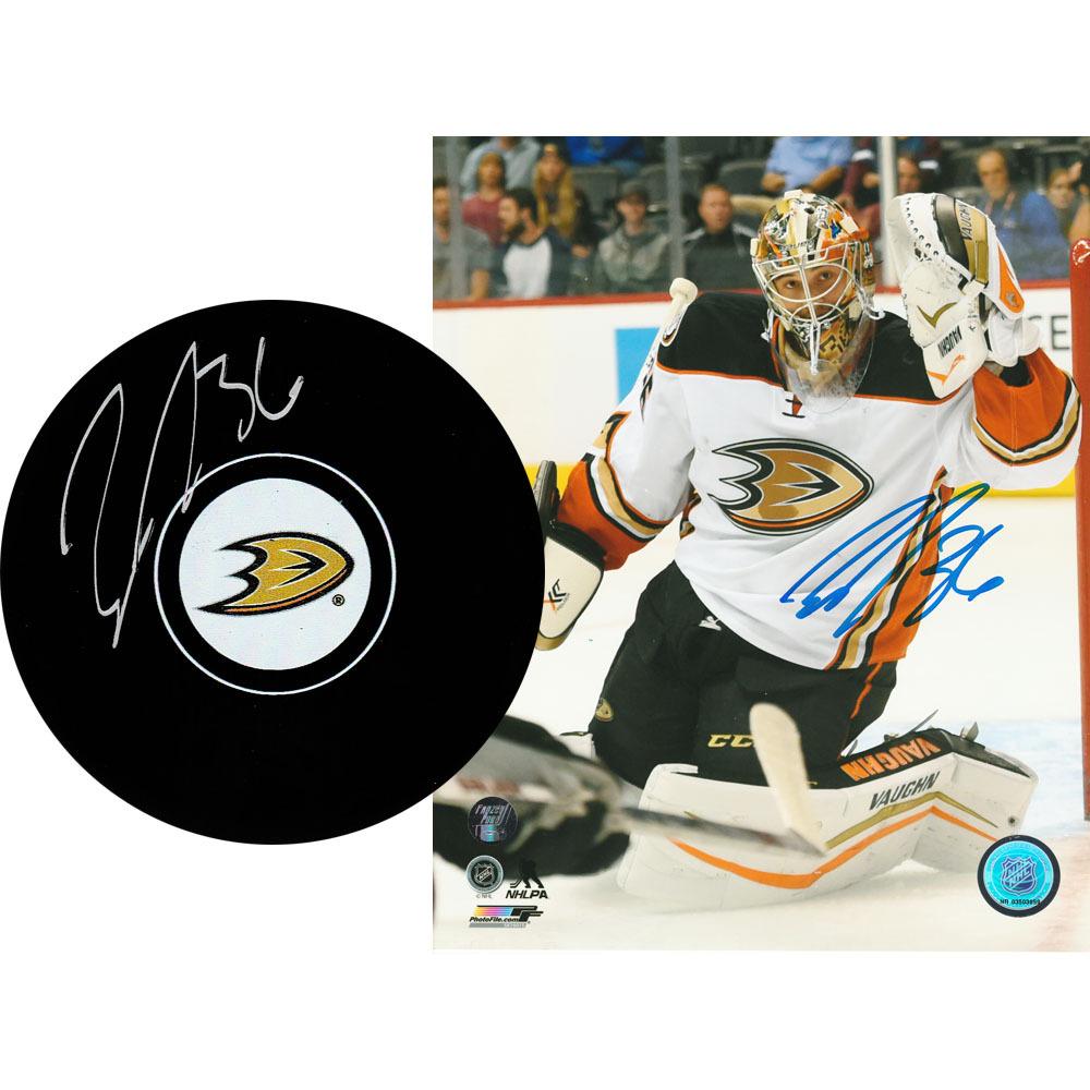 John Gibson Autographed Anaheim Ducks Combo Lot - 8X10 Photo & Puck