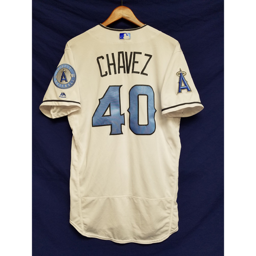 Jesse Chavez Game-Used Blue Fathers Day Jersey