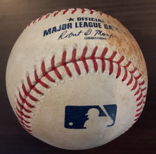 Photo of Authenticated Game Used Baseball - 2 RBI Double by Eric Hosmer against Brett Anderson. Top 2. (September 20, 2017).