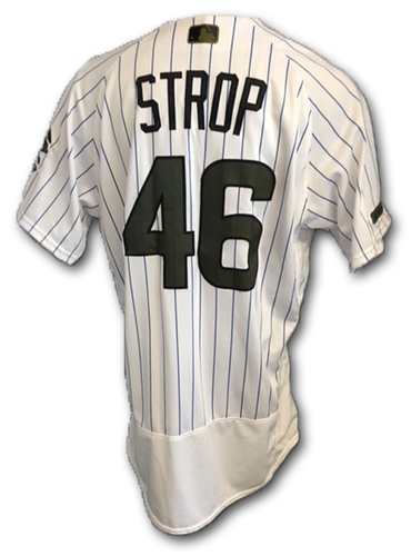 Photo of Pedro Strop Game-Used Memorial Day Jersey -- Giants vs. Cubs -- 5/27/18