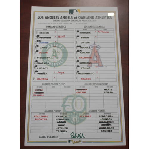 Photo of 3/30/2018 Game-Used Lineup Card LAA vs OAK (Shohei Ohtani's 2nd game)