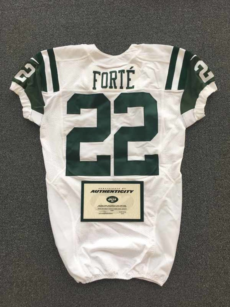 best website 0cc4e 3a81b NFL Auction | New York Jets - 2016 #22 Matt Forte Game Worn ...