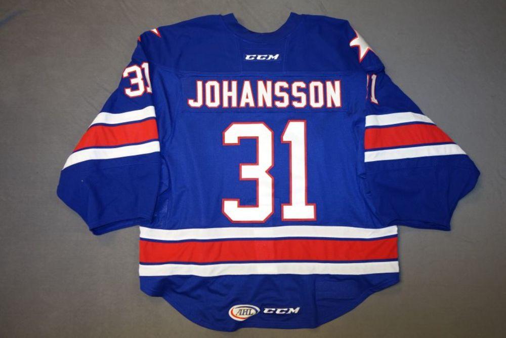 Jonas Johansson Game-Worn Rochester Americans Blue Jersey