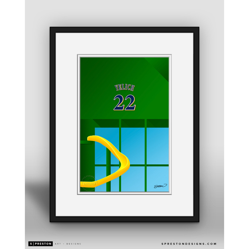 Photo of Minimalist Miller Park Christian Yelich Player Series Framed Art Print by S. Preston - Limited Edition