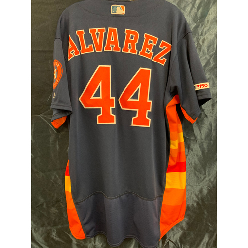 Photo of Houston Astros 2019 Yordan Alvarez Game-Used Navy Alt Jersey