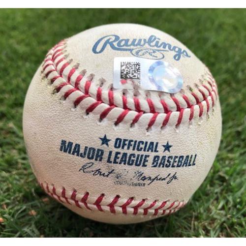 Photo of Final Season Game-Used Baseball - Jordan Luplow RBI Double - 6/19/19