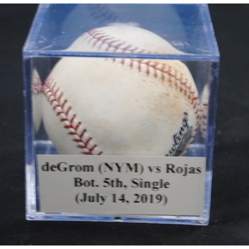 Photo of Game-Used Baseball: Jacob deGrom (NYM) vs Miguel Rojas, Bot. 5th, Single (July 14, 2019)