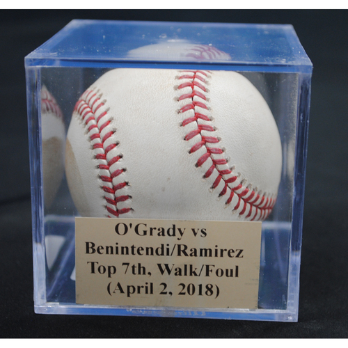 Photo of Game-Used Baseball: Chris O'Grady vs Andrew Benintendi/Hanley Ramirez, Top 7th, Walk/Foul (April 2, 2018)