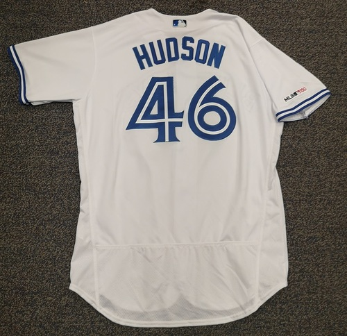 Photo of Authenticated Game Used Jersey - #46 Daniel Hudson (Mar 28, 19: Opening Day). 1 IP, 2 Hits, 2 ER, 2 Ks. Size 48.