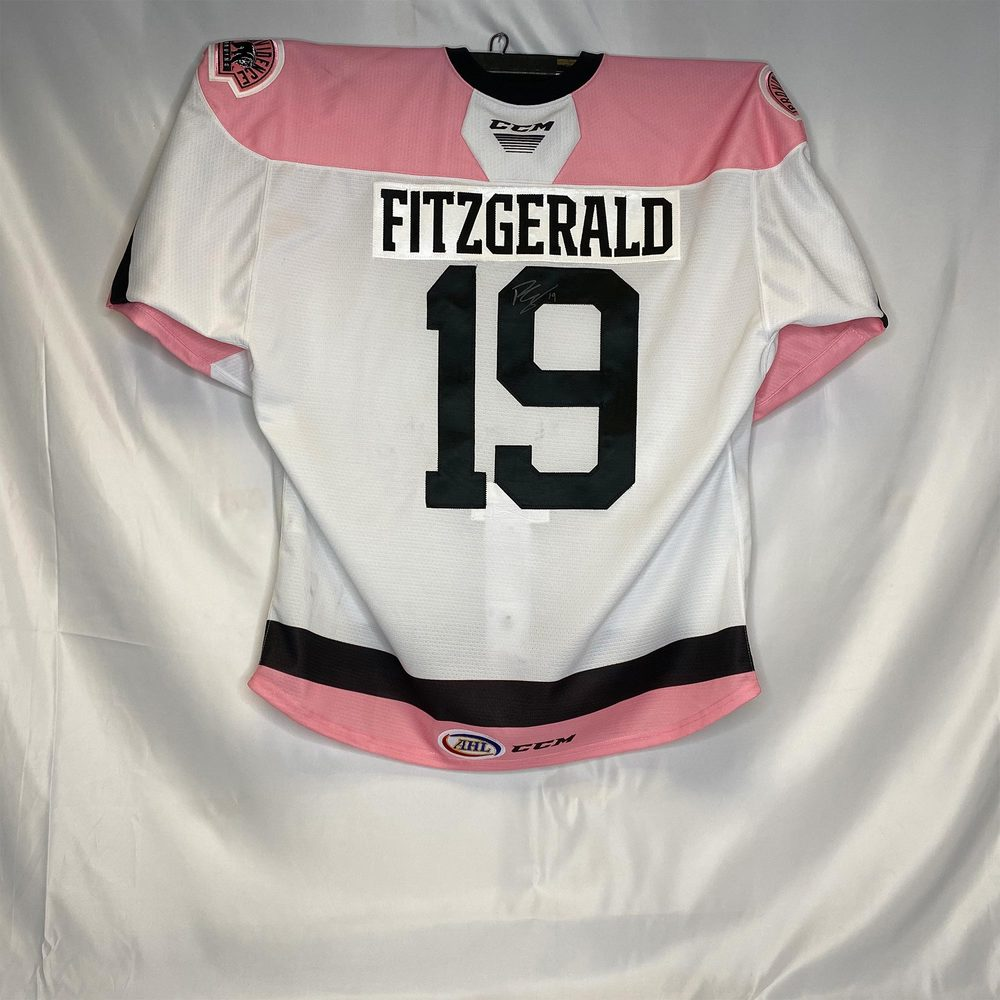 2019-20 Providence Bruins Pink in the Rink Jersey Worn and Signed by #19 Ryan Fitzgerald