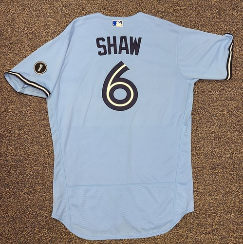 Photo of Authenticated Team Issued Jersey: #6 Travis Shaw (2020 Season). Set 2. Size 46.