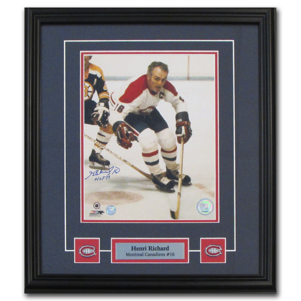 Henri Richard Autographed Montreal Canadiens Framed 8X10 Photo