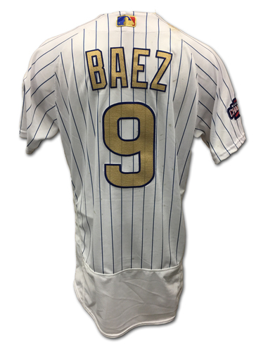 Javier Baez Opening Day Game-Used Gold Jersey -- Dodgers vs. Cubs -- 4/10/17