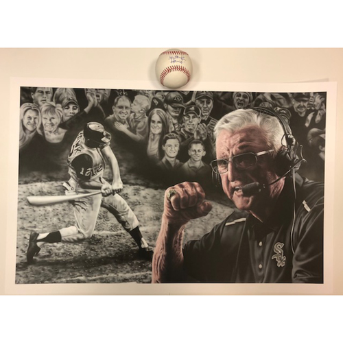 Photo of Memorable Moments 2018: Game-Used Baseball from September 2, 2018, Hawk Harrelson Autographed Baseball and a Hawk Poster