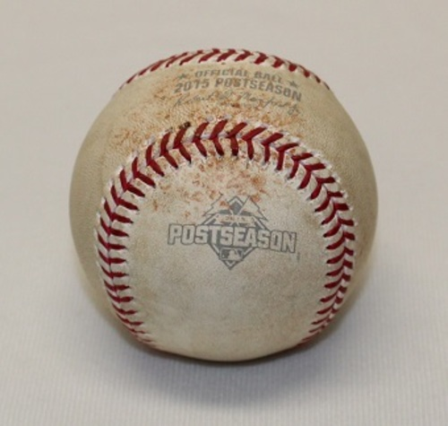 Photo of Authenticated Game Used Baseball - ALCS Game 4 (October 20, 2015 vs Kansas City Royals). Pitch in the Dirt by R.A. Dickey to Lorenzo Cain. Top 1.