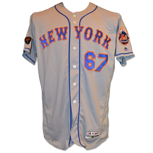 Photo of Seth Lugo #67 - Game Used Road Grey Jersey - Mets vs. Nationals - 9/20/18