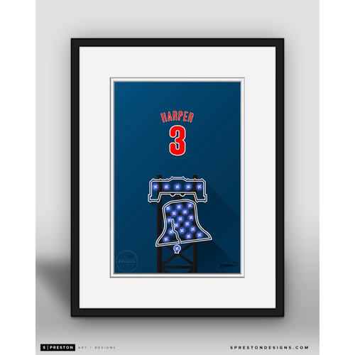 Photo of Minimalist Citizens Bank Park Bryce Harper Player Series Framed Art Print by S. Preston - Limited Edition