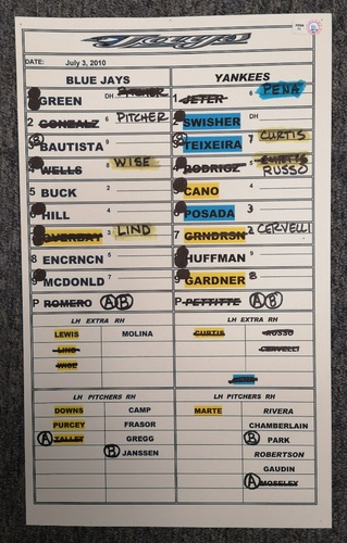 Photo of Authenticated Game Used Lineup Card - July 3, 2010 at NYY: Alex Rodriguez had 4 RBIs and Brett Gardner had a Grand Slam