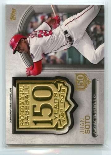 Photo of 2019 Topps 150th Anniversary Manufactured Medallions 150th Anniversary #AMMJS Juan Soto 100/150