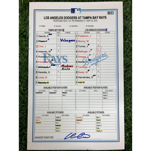Photo of Game Used Lineup Card: Emilio Pagan (W, 1.1IP, 1 SO) - Tommy Pham (6), Avisail Garcia (8), Kevin Kiermaier (4) and Max Muncy (10) Home Runs - May 22, 2019 v LAD