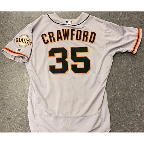 Photo of 2020 Black Friday Sale - 2017 Game Used Road Jersey worn by #35 Brandon Crawford on 8/28 @ SD - 2-4, HOME RUN, RBI, 2 R - Size 48