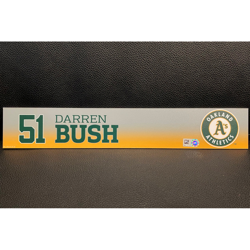 Photo of Darren Bush Game-Used 2020 Spring Training Locker Nameplate