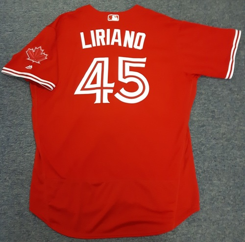 Photo of Authenticated Game Used Jersey - #45 Francisco Liriano (April 16, 2017 and July 1, 2017). Liriano went 6 IP with 5 ER and 4 Ks on July 1 (Canada Day) and was the Losing Pitcher. Size 52