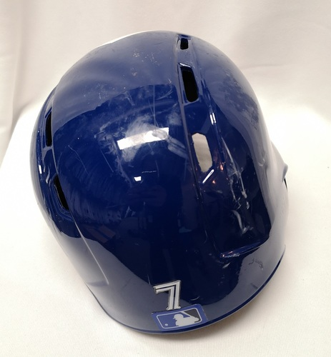 Photo of Authenticated Game Used Helmet - #7 Richard Urena (Aug 20, 18: 1-for-2 with 1 Double and 1 BB). Size 7 1/4.