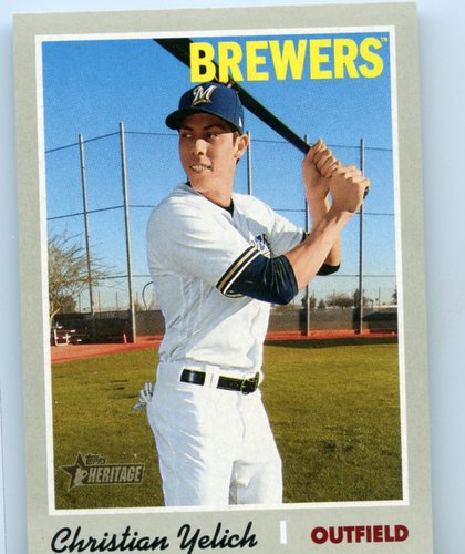 Photo of 2019 Topps Heritage Mini #410 Christian Yelich 039/100