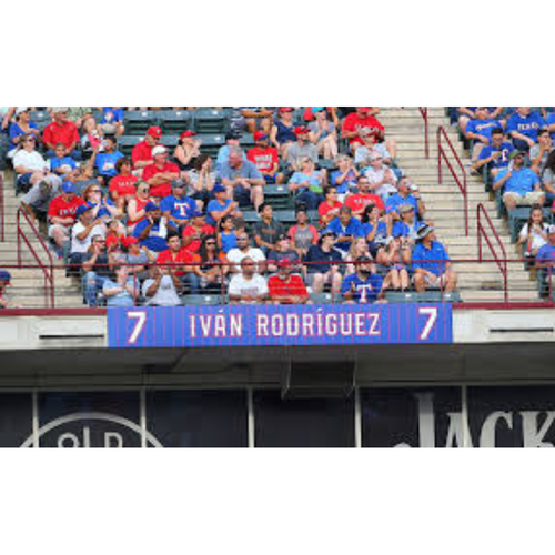 Photo of *PICKUP ONLY* Globe Life Park Sign Honoring The Texas Rangers Retirement of Ivan Rodriguez Jersey #7