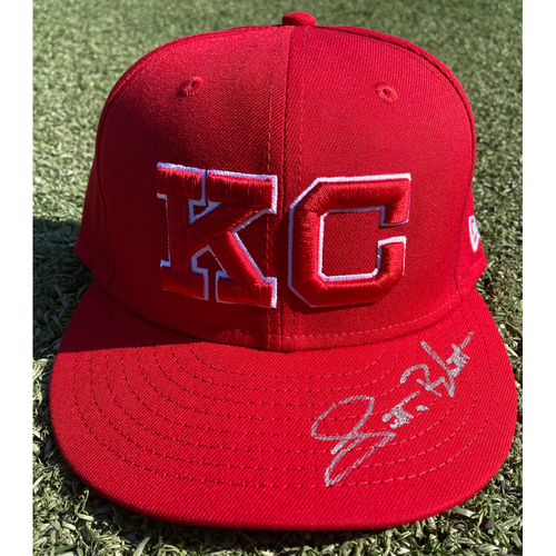 Photo of Autographed/Game-Used Monarchs Hat: Scott Blewett #64 (STL @ KC 9/22/20) - Size 7 3/8