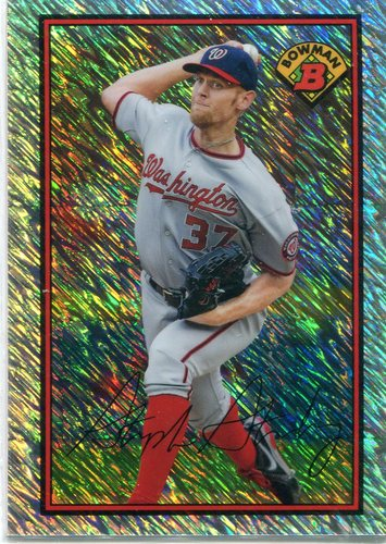 Photo of 2014 Bowman '89 Is Back Silver Diamond Refractor Shimmer Stephen Strasburg 5/10