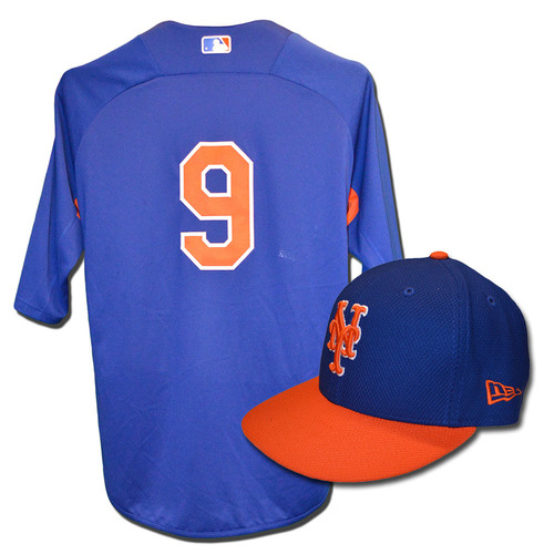 Brandon Nimmo #9 - Team Issued Blue Batting Practice Top and Hat Combination - 2017 Season