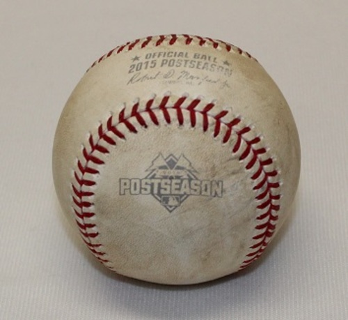 Photo of Authenticated Game Used Baseball - ALCS Game 5 (October 21, 2015 vs Kansas City Royals). Pitch in the Dirt by Danny Duffy to Jose Bautista. Bottom 7.