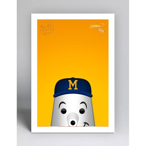 Photo of Barrelman - Limited Edition Minimalist Mascot Art Print by S. Preston  - Milwaukee Brewers