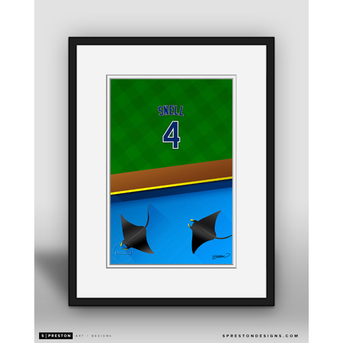 Photo of Minimalist Tropicana Field Blake Snell Player Series Framed Art Print by S. Preston - Limited Edition