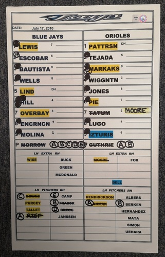 Photo of Authenticated Game Used Lineup Card - July 17, 2010 at BAL: Jose Bautista hit his 25th Home Run of the season