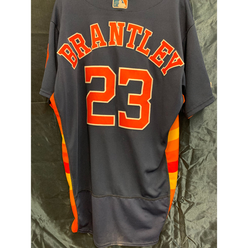 Photo of Houston Astros 2019 Michael Brantley Game-Used Navy Alt Jersey