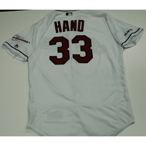 Photo of Brad Hand 2019 Team Issued Home White Jersey