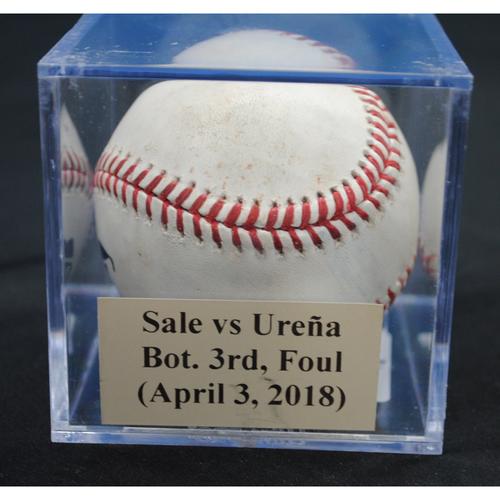 Photo of Game-Used Baseball: Chris Sale vs Jose Ureña, Bot. 3rd, Foul (April 3, 2018)