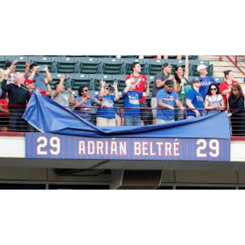 Photo of *PICKUP ONLY* Globe Life Park Sign Honoring The Texas Rangers Retirement of Adrian Beltre Jersey #29