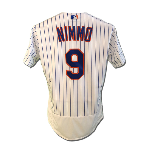 Photo of Brandon Nimmo #9 - Team Issued White Pinstripe Jersey - 2018 Season